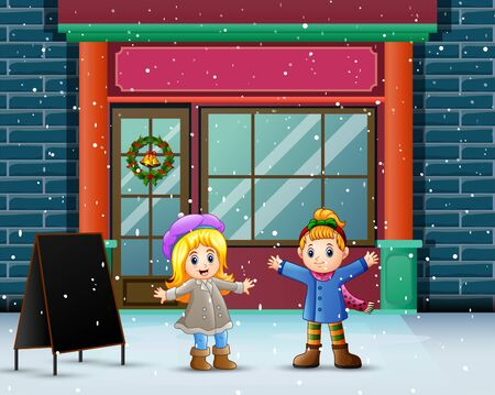 Winter scene with girls standing in front store