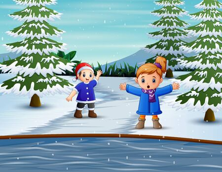 The children playing outdoor in winter