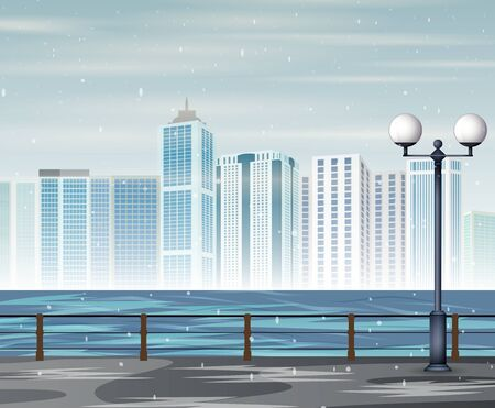 Urban cityscape landscape with snowfall