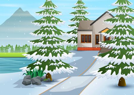 Winter village with snow on the background Illustration