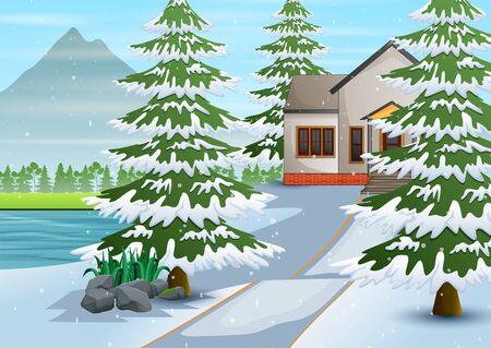 Winter village with snow on the background Illusztráció