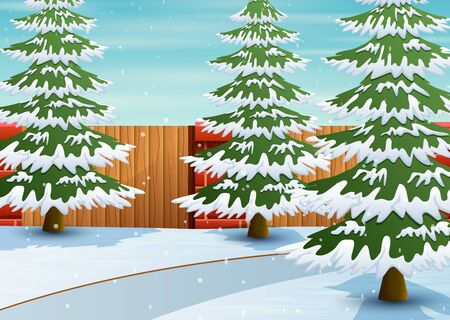 Brick fence with white falling snow and pine forest background