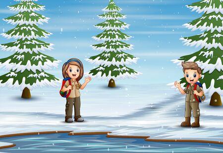 The scout exploring nature in winter landscape Illusztráció