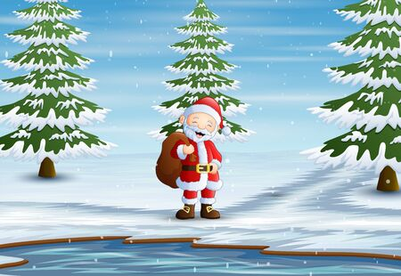 Santa claus standing with sack of presents in forest