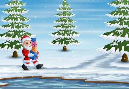 A santa claus holding boxes gift for children Illustration