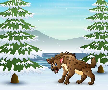 A hyena cartoon on the winter forest Illustration