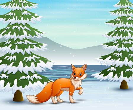 Fox in the winter forest hunting a prey Illustration