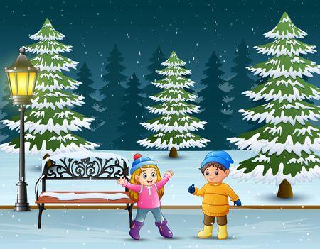 Children having fun at winter park Illustration