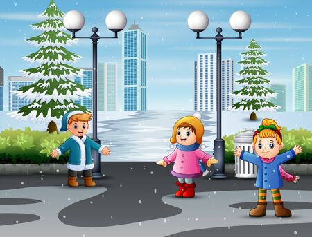 Happy children meeting with friends in natural snowy park