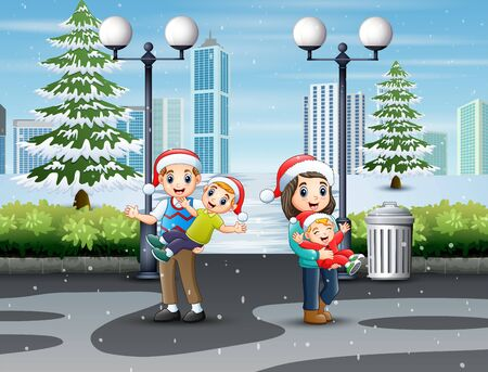 Happy family having fun in a winter park