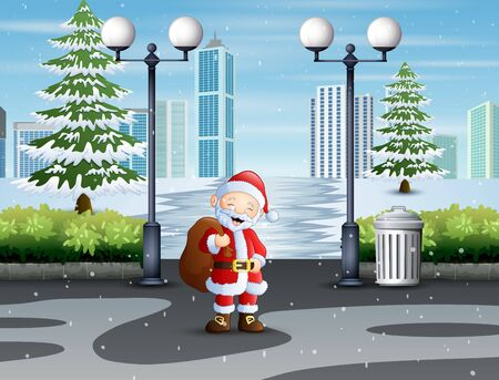 Santa claus walking through park with a bag of gifts