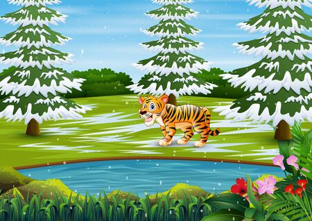 Cartoon tiger in the winter forest landscape Stock fotó - 135502266