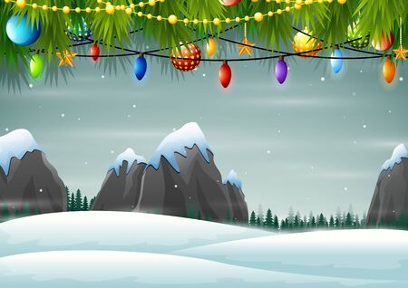 Christmas background with snow mountains rocks hills