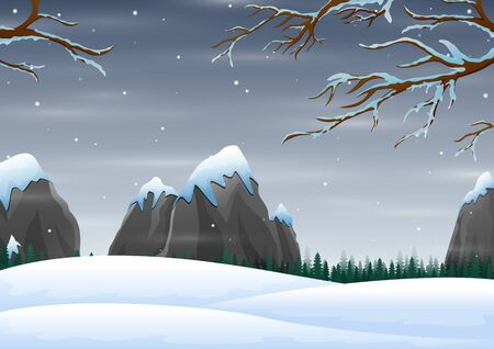 Winter scene with snow mountains rocks hills 일러스트