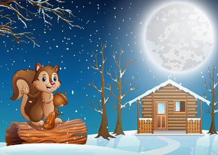 A squirrel cartoon enjoying snowfall in snowy village Illustration