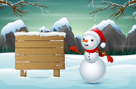 A cute snowman and a snowy wooden sign 일러스트