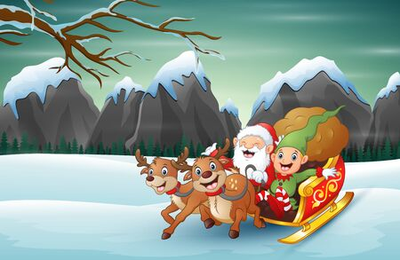 Happy santa claus and elf riding his sleigh at winter snow 일러스트