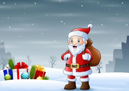 Santa claus standing in the snow with a bag of gifts Ilustração
