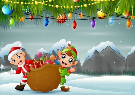 Elf and santa claus carrying christmas presents in winter background 일러스트