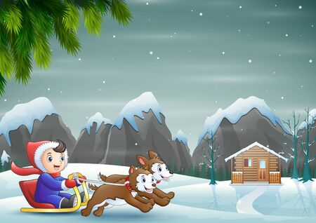 Cartoon boy riding sled passing through the snowy village 일러스트