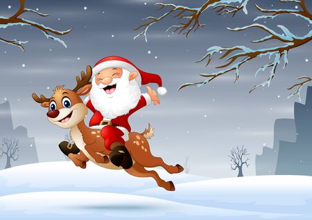 Santa claus with deer jumping in the snow