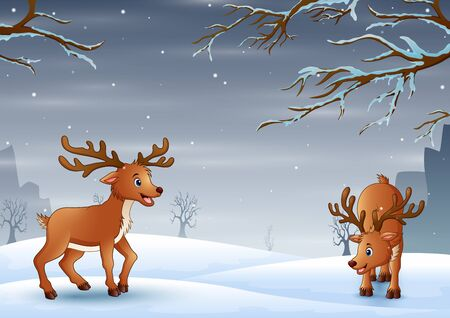 Nature landscape on snow winter background with deers
