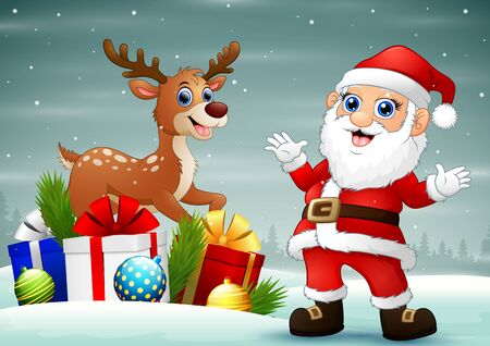 Santa claus and a deer with a gift boxes on the snow Ilustração