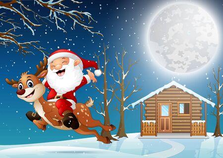 Santa claus riding a reindeer through the night village