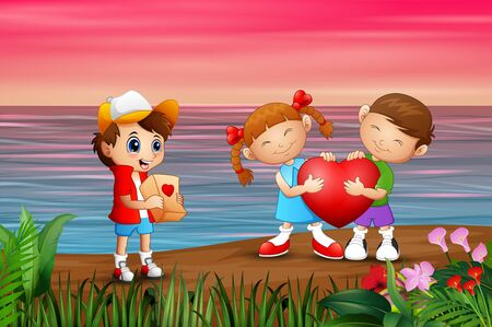 Valentine day background with children on the sea Illustration