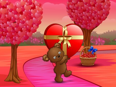 Teddy bear carrying big gift of red heart in pink field Vettoriali