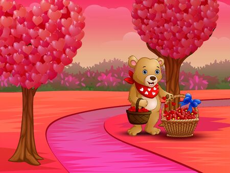 Cartoon bear with a basket of red heart in pink nature