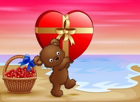Teddy bear carrying big gift of red heart Illustration