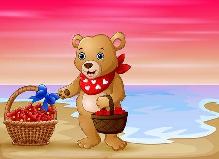 Un oso con una canasta de corazón rojo en la playa. Ilustración de vector
