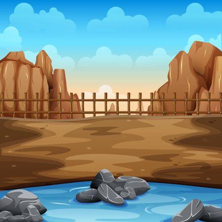 Sommerwildnis und See am Boden