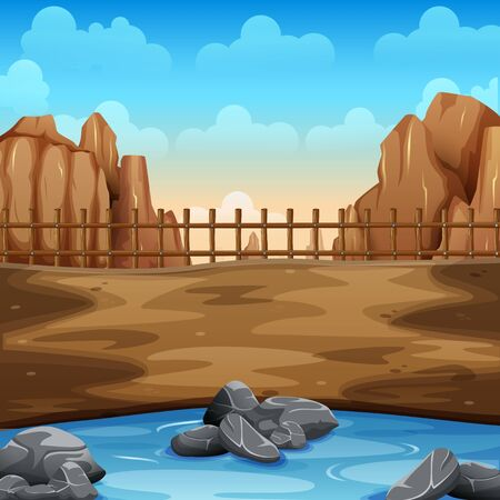 Verano desierto y lago en el suelo.