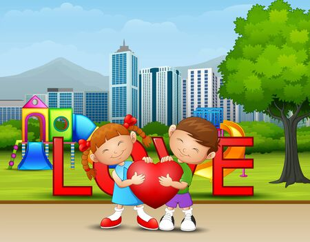 A couple kid holding a heart in the city park