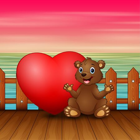 Valentine day concept with funny baby bear sitting with heart Banque d'images - 137672434