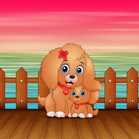 Nice cartoon mother dog with her puppy in seaport Banque d'images - 137671828
