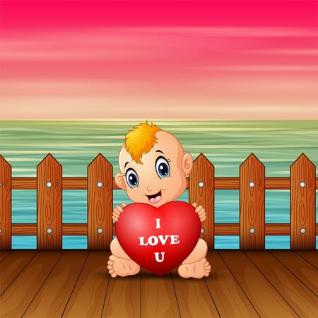 Little baby holding red heart on seaport Banque d'images - 137672052