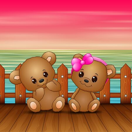 Cute couple a teddy bear sitting on seaport Banque d'images - 137672051