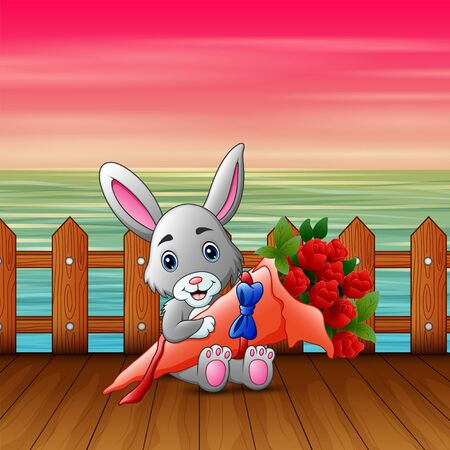 Cute little bunny holding a bouquet on valentine day Banque d'images - 137674346
