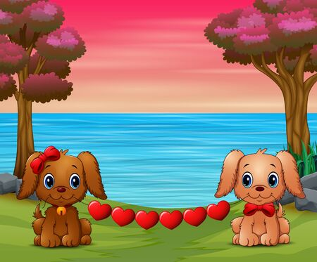 Cute two dogs bite heart in the forest Illustration