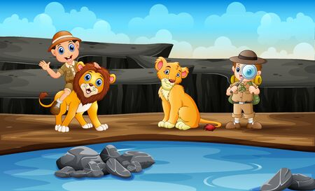 The zookeepers with lions in the zoo Ilustração