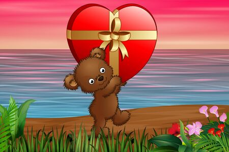 Teddy bear carrying big gift of red heart in the beach Illustration