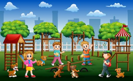 Children and friends playing in a public park with their pets