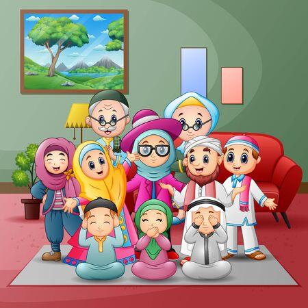 Grandes miembros de la familia musulmana feliz se reunieron en casa Ilustración de vector