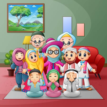 Happy big muslim family members gathered together at home Vector Illustratie