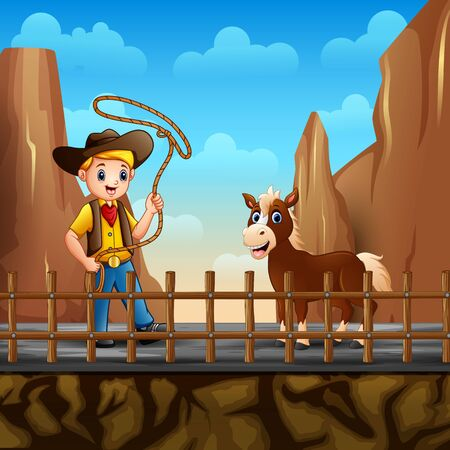 Cowboy and a horse in the desert landscape