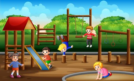 Happy kids playing in playground scene Illustration