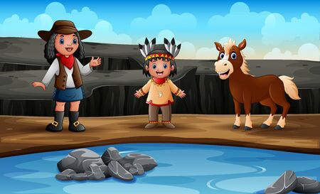 Young african cowgirl with indian girl and horse on rocks Ilustração